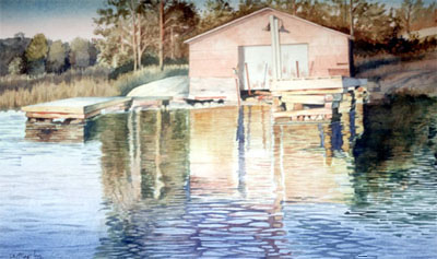 Watercolour of Pink Boathouse, near Port Severn, Georgian Bay
