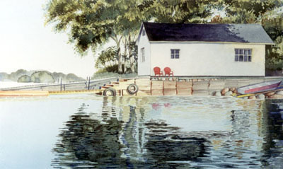 Watercolour of White Boathouse, near Port Severn, Georgian Bay