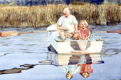 Watercolour of Artist and daughter, boating on Duck Bay, part of Georgian Bay