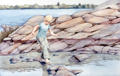 Watercolour , figure on rocky island, Georgian Bay
