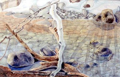 Watercolour of Frozen Stream in March
