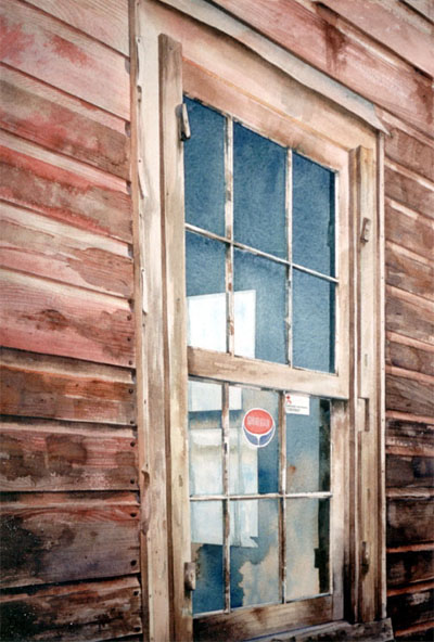 Watercolour of Feed Mill window, Hillsdale,Ontario