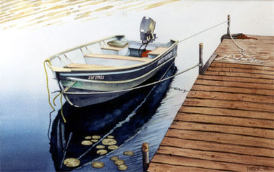 Watercolour boat at dock, early morning, Georgian Bay