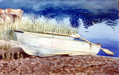 Watercolour of boat in morning mist, Georgian Bay