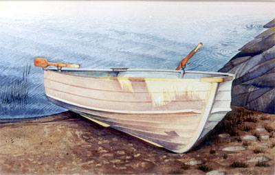 Watercolour of boat at sunset, Georgian Bay