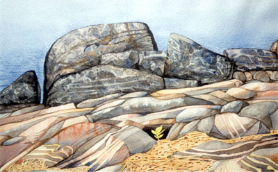 Watercolour of rocky shoreline, Georgian Bay